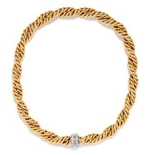 A Bicolor Gold and Diamond Fancy Link Collar Necklace, German, 53.20 dwts.