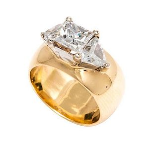 A Collection of 14 Karat Yellow Gold and Diamond Rings,