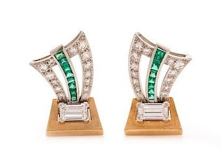 A Pair of Platinum, Rose Gold, Diamond and Emerald Earclips, 6.70 dwts.