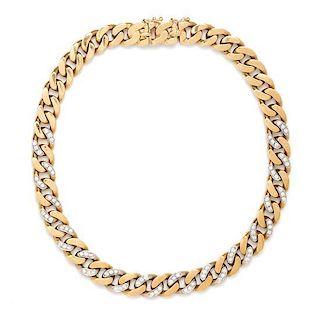 An 18 Karat Bicolor Gold and Diamond Link Necklace, 63.30 dwts.