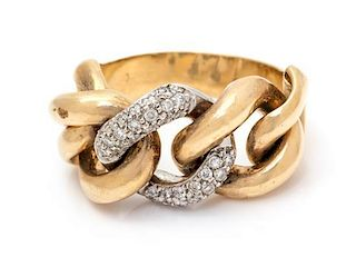 A Bicolor Gold and Diamond Ring, 7.40 dwts.