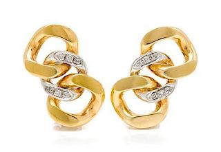 A Pair of 18 Karat Bicolor Gold and Diamond Link Motif Earclips, Pomellato, 13.80 dwts.