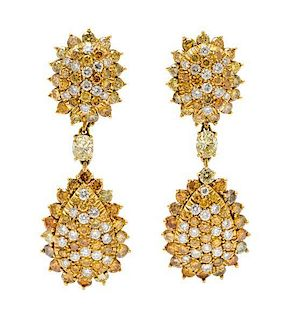 A Pair of 18 Karat Yellow Gold, Diamond and Colored Diamond Convertible Earclips, 14.20 dwts.
