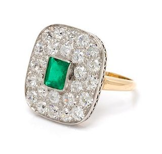 A Platinum Topped Yellow Gold, Emerald and Diamond Ring, 4.30 dwts.
