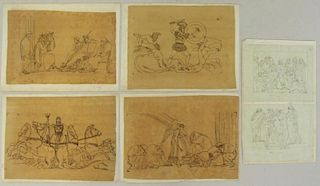 Lot of Six (6) 18th Century Neoclassical Drawings.