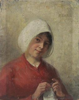 ARENZ, Max. Oil on Panel. Woman Knitting.