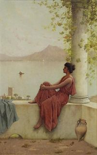 BLACKMAN, Walter. Oil on Canvas. Woman on a Ledge.