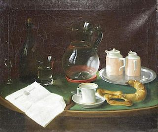 MEURER, Charles. Oil on Canvas. Still Life with
