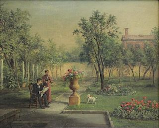 LINTON CHAPMAN, John. Oil on Canvas, Garden Scene.