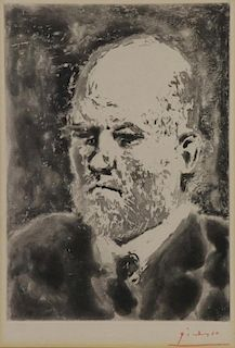 "PICASSO, Pablo. Aquatint ""Portrait of Vollard"""