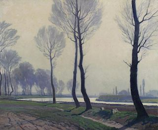 DAUBNER, Georg. Oil on Canvas. Tree Lined Path.