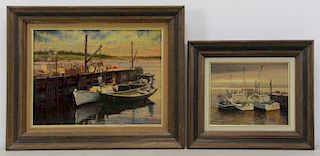 CRILLEY, Joseph. Two Oils on Board. Marine Scenes.