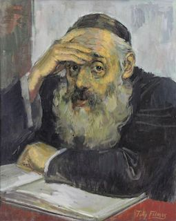 FILMUS, Tully. Oil on Canvas. Rabbi with Book.