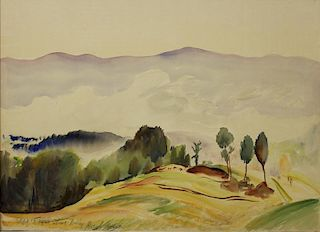 "LEVER, Hayley. Watercolor on Paper. ""Stowe Valley,"