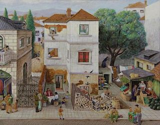GILBOA, Nahum. Oil on Canvas. Village Scene.
