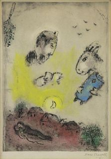 CHAGALL, Marc. Hand Colored Etching. Untitled.