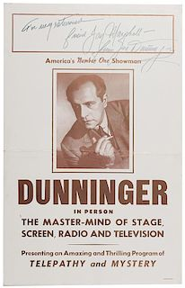 Dunninger In Person. The Master—Mind of Stage, Screen, Radio and Television. Signed Window Card.
