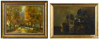 Two oil on board works, to include a still life, s