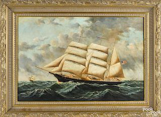 Contemporary oil on canvas ship portrait
