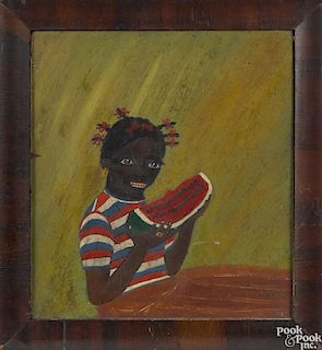 Primitive oil on board of an African American girl