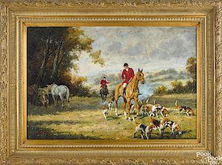 Contemporary oil on canvas fox hunting scene
