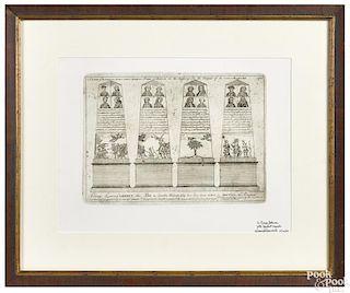 Restrike Paul Revere engraving