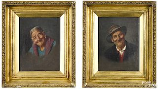 Pair of oil on canvas portraits of a man and woman