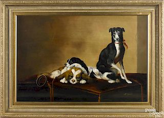 Contemporary oil on canvas portrait of three dogs