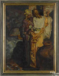 Oil on canvas laid on board illustration