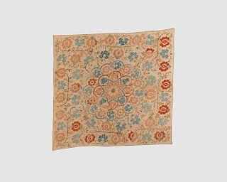 Turkish Textile, 18/19th century, silk embroidery on linen with metallic thread highlights