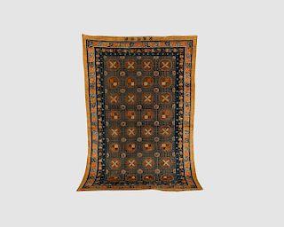 Chinese Silk and Metallic Thread Signature Carpet