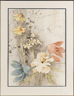 Watercolor of flowers, signed Werkhoven