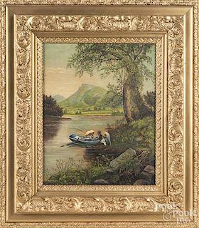 Primitive oil on canvas landscape