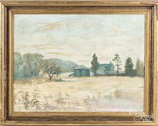 Oil on canvas impressionist landscape