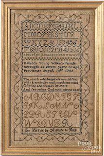 Providence, Rhode Island silk on linen sampler