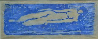 """Milton Avery (1885-1965), woodcut printed in blue, """"Nude"""", signed lower left: Milton Avery 1960, sight size 4 1/2"""" x 11 1/2"""""""
