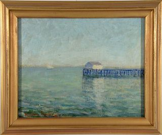 "Milton Clark Avery (1885-1965), oil on board, Pier on Connecticut's Shore, signed lower left: Milton Avery 19, 8"" x 10"""