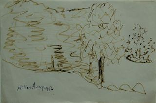 """Milton Avery (1885-1965), felt tip pen on paper, """"Trees"""", signed and dated: Milton Avery 1956, having Midtown Payson Gallerie"""
