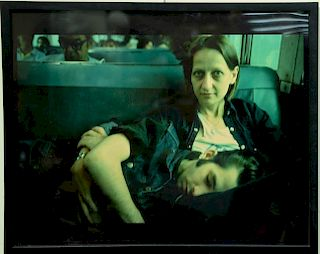 Nan Goldin (b. 1953), cibachrome print, Suzanne and Philippe on the Train, Long Island 1985, signed, numbered, and titled on