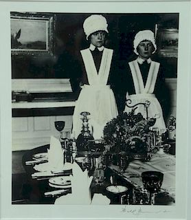 """Bill Brandt (1904-1983), silver print, """"Parlour Maid and Under Parlour Maid Ready to Serve"""", pencil signed lower right: Bill"""