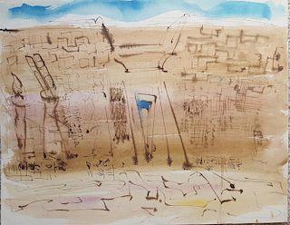 "William G. Congdon (1912-1998)  Watercolor ""Luxor"""