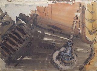 "William G. Congdon (1912-1998) Italian Modern painting ""Piazza Pantheon"""