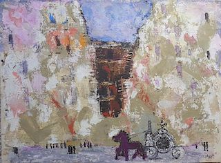 William G. Congdon (1912-1998) Modernist Painting Naples 1945 oil on paper