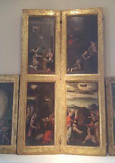 Old Master Flemish Renaissance 6 panel paintings