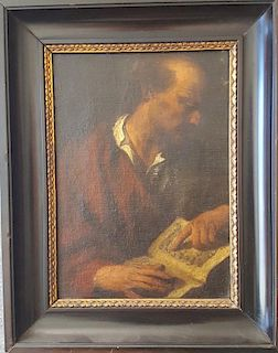 Old Master Dutch Painting Old Man Reading Book