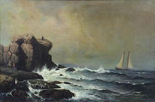 DE HAAS, Mauritz F. H. Oil on Canvas. Seaside