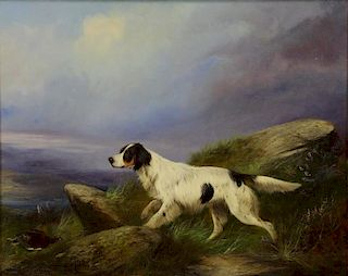 GRAEME, Colin. Oil on Canvas. Hunting Dog with