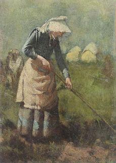 ROSELAND, Harry. Oil on Canvas. Peapicker in the