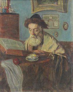 HERSCHEL, Otto. Oil on Canvas. Rabbi with Book.