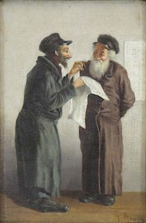 ROSENN, P. Oil on Canvas. Hassids in Conversation.